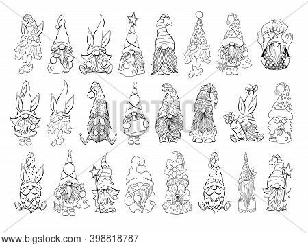 Gnomes Vector Bundle. Collection On Santa Hat Gnomes, Easter And Valentines Day Gnomies. For Adult C