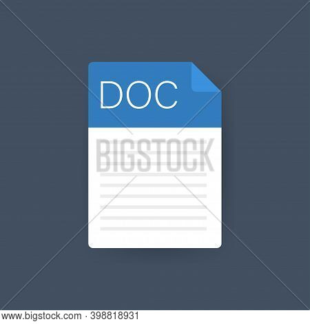Doc File Icon. Spreadsheet Document Type. Modern Flat Design Graphic Illustration. Vector Doc Icon