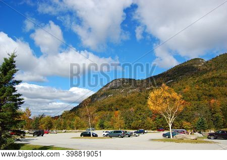 Franconia Notch With Fall Foliage And Echo Lake In Franconia Notch State Park In White Mountain Nati