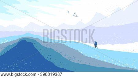 Beautiful Scenic Nature Landscape With Traveler Pilgrim Vector Illustration Winter Season With Grass