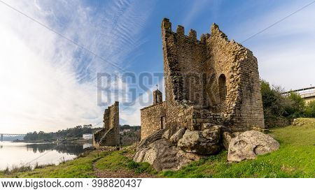 A View Of The Ruins Of The Torres De Oeste Castle And Fortress On The Arousa River In Galicia