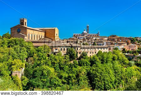 The Basilica Of San Domenico And The Cathedral Of Siena. Unesco World Heritage In Tuscany, Italy