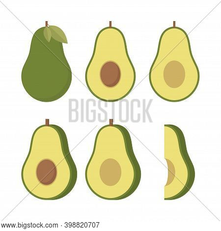 Realistic Vector Avocados Illustration. Whole And Cut Avocado Isolated On White Background.