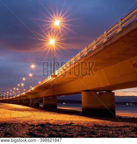 Isla De Arosa, Galicia / Spain - 1 December 2020: The Isla De Arosa Bridge In Galicia At Sunrise