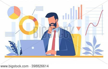 Bearded Businessman Sitting In Office And Analyzing Data On His Laptop. Data Science, Scientific Res