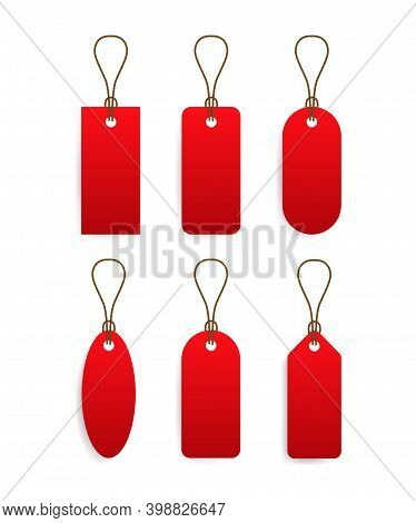 Red Price Taq With Small Ribbon, Price Taq Set, Sale And Discount.
