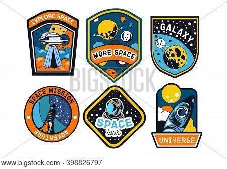 Set Of Abstract And Futuristic Space Badges, Patches, Emblems, And Labels. Vector Illustration