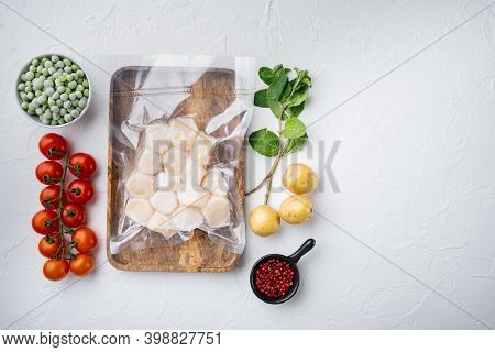 Frozen Meat Scallop In Vacuum Package, Flat Lay, On White Textured Background With Space For Text