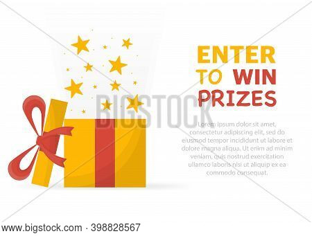 Enter To Win Prizes. Prize Box Opening And Exploding With Fireworks And Confetti.