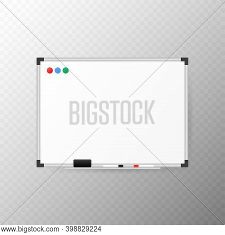 Empty Whiteboard With Marker, Sponge-eraser And Magnets.