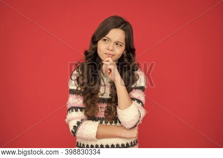 Making Decision. Kid Thoughtful Face Make Decision. Child Cute Face Brunette Hair Thinking. Girl Cas