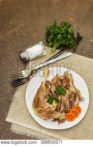 Boiled Chicken Meat With Carrot And Parsley