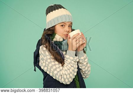 Change Your Temperature. Girl Child Hot Tea Cup. Kid Winter Fashion. Feeling Good Any Weather. Stay