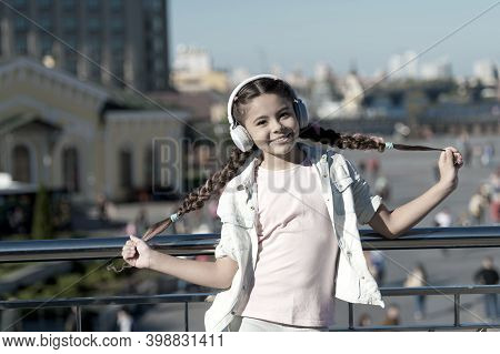 City Guide And Audio Tour. Girl Little Tourist Kid Explore City Using Audio Guide Application. Free