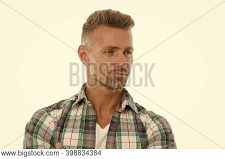 Handsome Mature Man With Stylish Hairstyle. Barber Salon. Perfect Fringe. Styling Fringe Requires Th