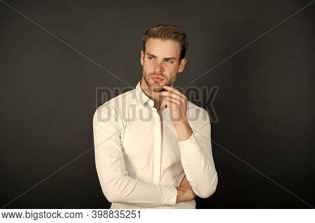 White Shirt Always Come Back Into Style. Stylish Man Dark Background. Professional Wardrobe. Busines