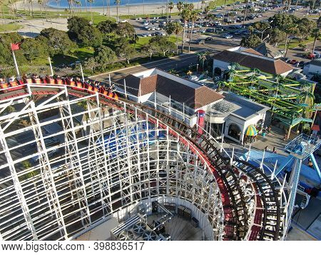 Aerial View Of Iconic Giant Dipper Roller Coaster In Belmont Park, An Amusement Park Built In 1925 O