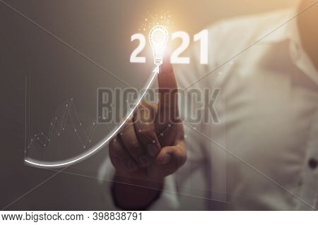 Businessman Plan Growth And Increase Of Positive Indicators In His Business In Year 2021