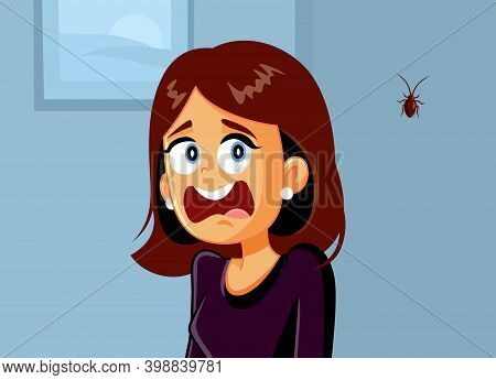 Funny Woman Screaming Scared Of A Cockroach