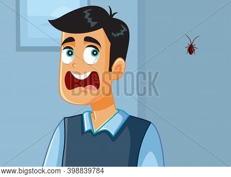 Funny Man Screaming Scared Of A Cockroach