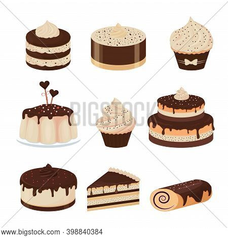 Set Of Detailed Desserts Glazed With Chocolate Cupcake, Cheesecake, Pudding, Cake Isolated On White