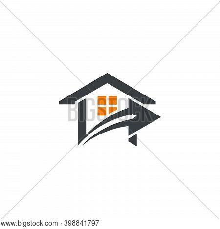 Home Roof Swoosh Arrow Geometric Design Logo Vector