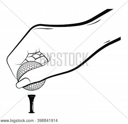 Woman Hand Of Sportswoman Carefully Puts Sport Ball For Golf On Stand, Tee On White Background. Golf
