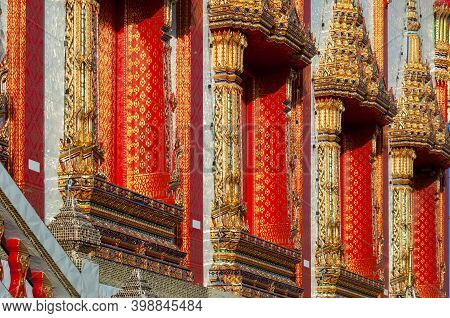 Detail Of Wat Mongkhon Khothawat In Klong Dan, Samut Prakan Province Of Thailand.