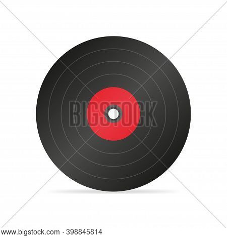 Vinyl Record Flat Icon With Long Shadow.