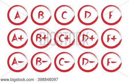 Grade Results Set. Hand Drawn Vector Grade In Red Circle.