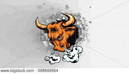 Illustration Of An Angry Raging Taxes Longhorn Bull Head Facing Front Set On Isolated Background Don