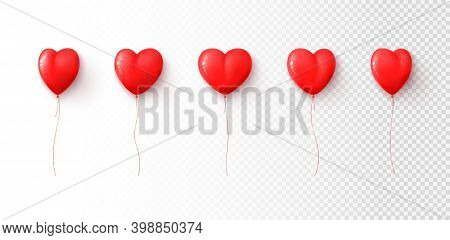 Set Of Red Balloons Isolated On Checkered Background. Vector Illustration With Realistic Heart Shape