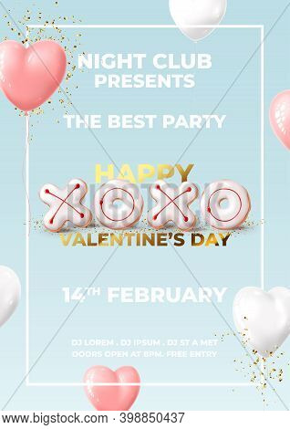 Happy Valentine's Day Party Flyer. Holiday Background With Realistic Xo Cookies, Balloons And Golden