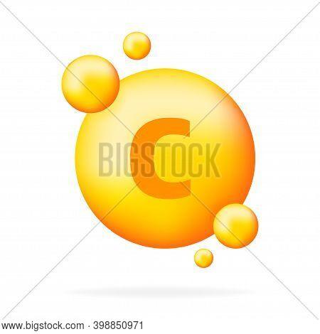 Vitamin Shining Pill Capcule Icon. Shining Golden Substance Drop. Meds Ads. Beauty Treatment Nutriti