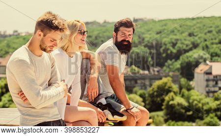 Just Relax. Best Friends. Summer Vacation. Group Of Four People. Great Fit For Day Off. Group Of Peo
