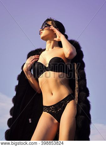 Expressing Herself. Sexy Woman Erotic Lingerie Fur Coat. Richness Luxury And Chic Concept. Summer Fa