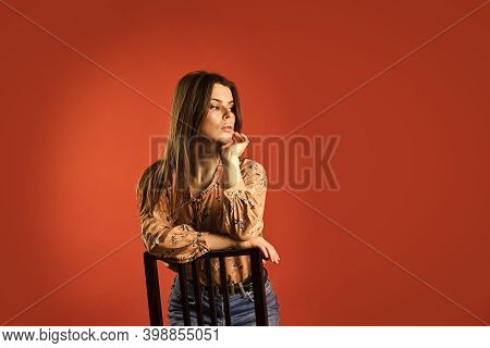 Confident In Her Style. Lost In Her Thought. Feeling Loneliness. Lonely Woman Sit On Chair. Phycolog