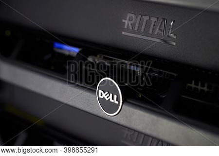 Berlin, Germany - December 2020: Dell Poweredge And Rittal Server Enclosure.network Cabinet And Serv