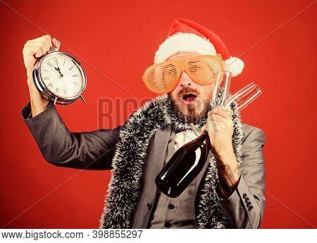 Boss Santa Hat Celebrate New Year Or Christmas. Christmas Party Invitation. Join Christmas Celebrati