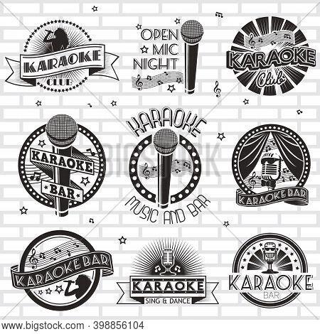 Karaoke Label, Emblem, Badge, Logo Set, Vector Monochrome Illustration.