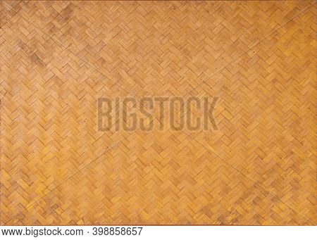 Traditional Woven Wood Rattan Wall Pattern Nature Texture For Home Material. Vintage Mesh Bamboo Wea
