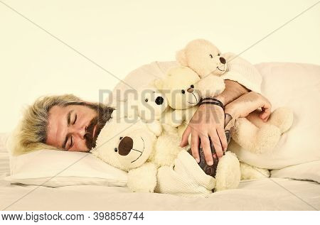 Man Hug Toy Relaxing In Bed. Good Vibes. Imaginary Friends. Strive To Practice Good Sleep Habits. Cu