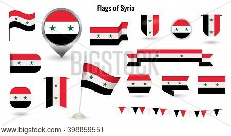 The Flag Of Syria. Big Set Of Icons And Symbols. Square And Round Syria Flag.