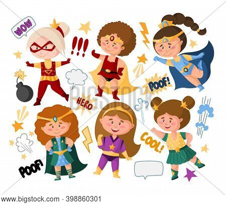 Superhero Cartoon Girls In Super Costumes, Speech Bubbles, Signs, Isolated Vector Clipart On White B