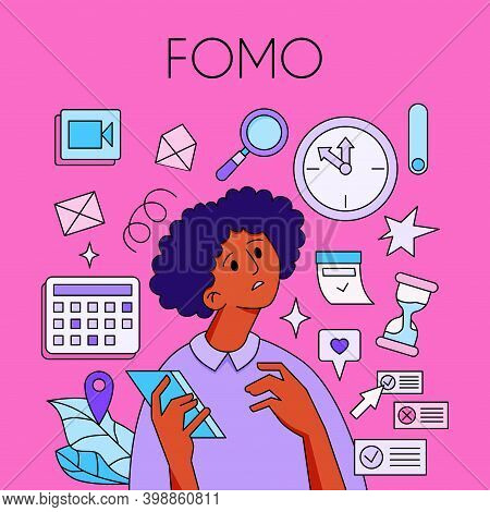 Fomo - Fear Of Missing Out Concept. Young Woman Is Holding Phone, Surrounded With Social Media Symbo