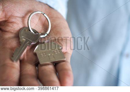 Landlord Unlocks The House Key For New Home