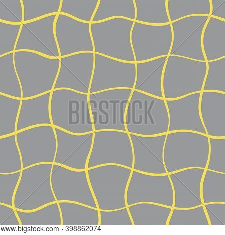 Vector Abstract Seamless Yellow Wave Swirl Pattern On Trendy Gray Color. Fantasy Modern Background W