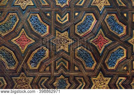 Seville, Spain - May 21, 2017: This Is A Fragment Of The Architectural Decoration Of The Ceiling In