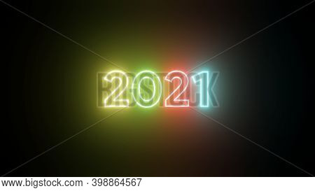 Colorful Neon 2021 Happy New Year Neon Banner. Realistic Bright Neon Billboard On Black Background.