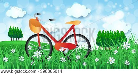 Spring Landscape With Bicycle And Woods, Vector Illustration Eps10